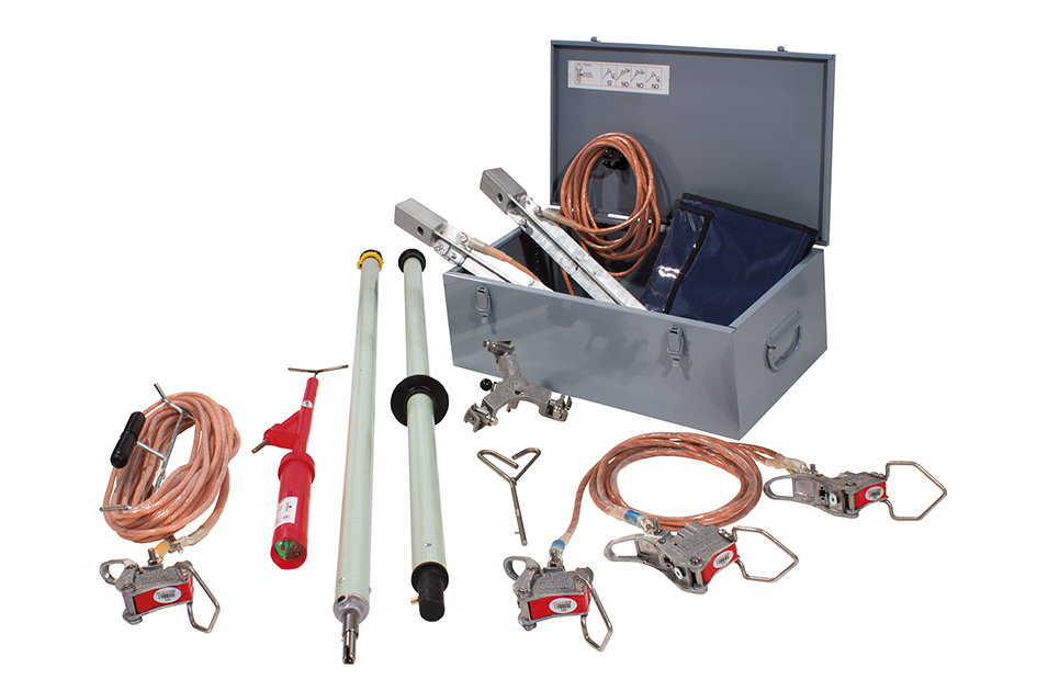Earthing and short circuit equipment for overhead lines on bare conductors spring tightening clamp Ø 3÷20 mm