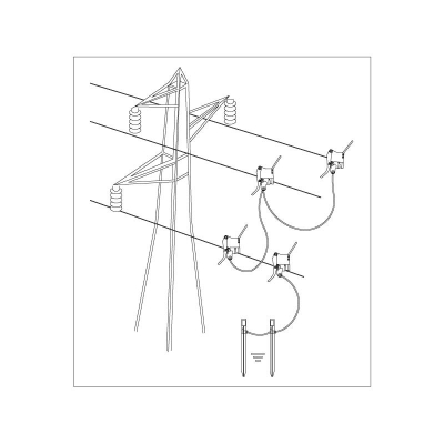 Earthing and short circuit equipment for overhead lines on bare conductors spring tightening clamp Ø 3÷20 mm - 3